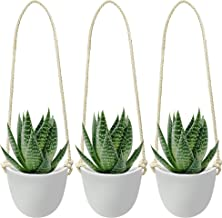 Nellam Ceramic Hanging Succulent Planter - Modern Wall Decor White Vase - Decorative Pots for Indoor Plants, Cactus, Flower - for Home, Bedroom & Kitchen (Rope - 3 Pcs (Singles))