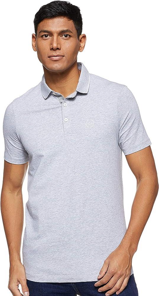 armani exchange polo maglietta per uomo a maniche corte 95% cotone 5% elastan grigia 8nzf70z8m9zc