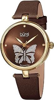 Designer Women's Watch – Pretty Butterfly Glitter Dial, Satin Over Genuine Leather Strap, 3 Diamond Markers, Polished Bezel - BUR233
