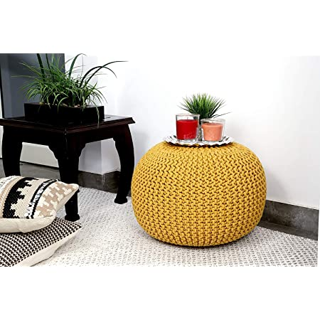 Rishal® 100% Cotton Cable Style Pouf for Living Room (40x40)(Yellow)