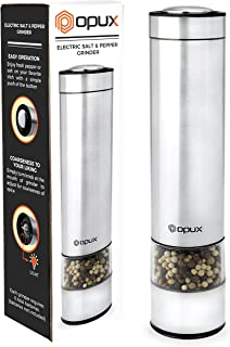 OPUX Battery-Operated Salt and Pepper Grinder with LED Light | Electric Stainless Steel Salt Shaker, Tall Automatic Pepper Mill | Electronic, Adjustable Coarseness, Modern Design
