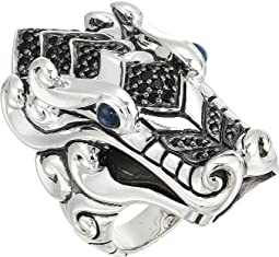 Legends Naga Ring with Black Sapphire, Black Spinel and Blue Sapphire Eyes