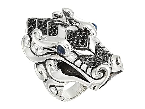 John Hardy Legends Naga Ring with Black Sapphire, Black Spinel and Blue Sapphire Eyes
