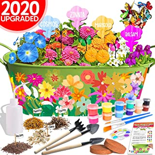 Innorock Kids Arts and Crafts Garden Kit - STEM Educational Flower Gifts Craft for Girls Boys Age 5 6 7 8 9 10-12 Year Old Birthday Plant Growing Gardening Set Paint Your Own Planter Tools Kits