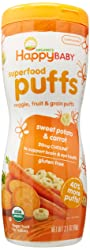 Happy Baby Organic Baby Food Superfood Puffs Sweet Potato & Carrot, 2.1 Ounce Organic Baby or Toddle