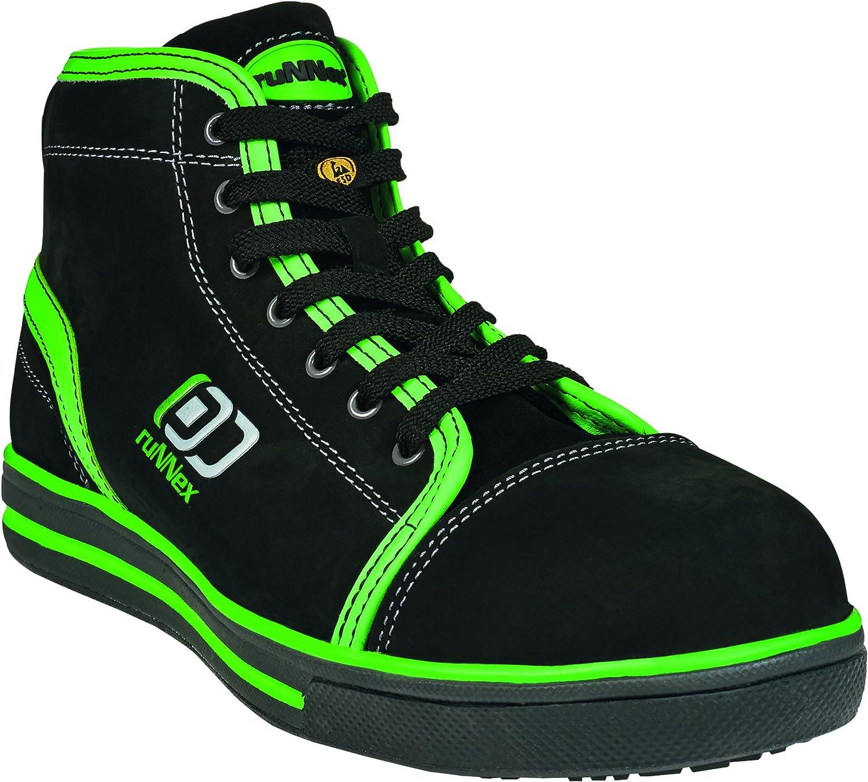 RuNNex 5345-39 Safety Boots,  Sport Star , S3, Size 39, Black Green - EN safety certified