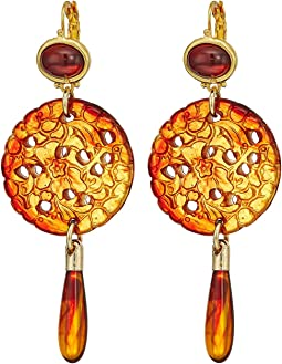 Kenneth Jay Lane - Small Gold Tortoise Top/Craved Tortoise/Tortoise Drop Wire Earrings