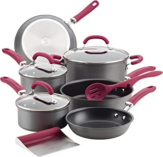 Rachael Ray 81124 11-Piece Hard Anodized Aluminum Cookware Set, Gray with Burgundy Handles