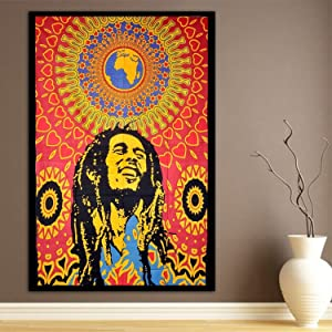 WORLD WIDE KART One World Poster Psychedelic Indian Gypsy Bohemian Multicolor Wall Hanging Ethnic Decorative Tapestries Home Dorm Decor Throw Art 30 x 40 Inches