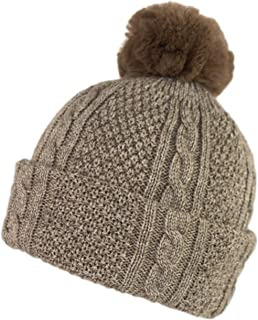 Warm Winter Knit Cuff Beanie Toboggan Hat with Pom Pom Turns into Scarf with Loop and Pom Closure
