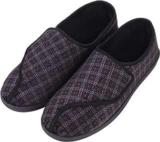 Men's Memory Foam Diabetic Slippers Comfy Warm Plush Fleece Arthritis Edema Swollen House Shoes