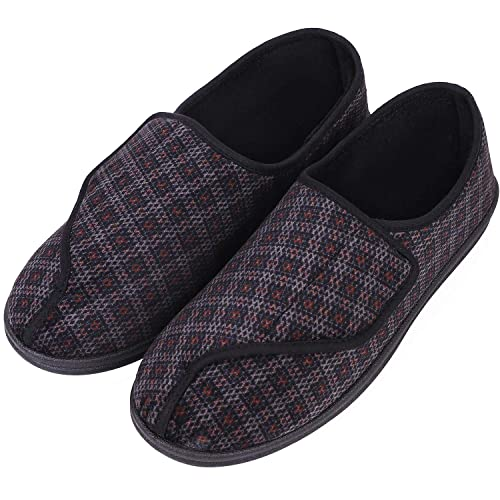 e1de7b1ea969 LongBay Men s Memory Foam Diabetic Slippers Comfy Warm Plush Fleece  Arthritis Edema Swollen House Shoes