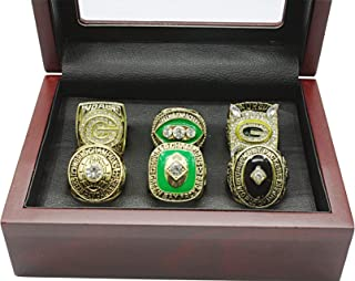 Twcuy Green Bay Packers 6 Years Rings Set, Super Bowl 2001-1962 Championship Replica Rings for Fans Men's Gifts