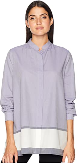 Trapeze Button Down with Mandarin Collar