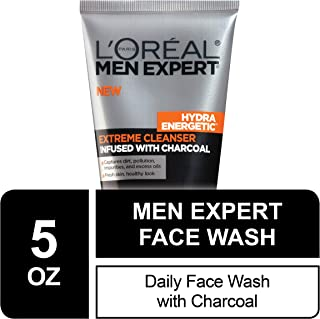 L'Oreal Men Expert Hydra Energetic Facial Cleanser with Charcoal for Daily Face Washing, Mens Face Wash, Beard and Skincar...