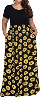 Women's Plus Size Casual Short Sleeve Floral Maxi Dresses with Pockets