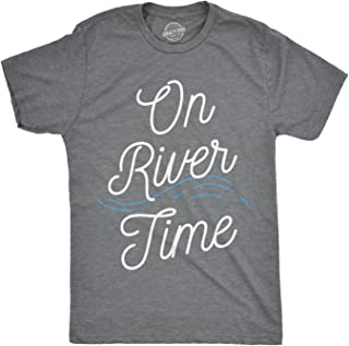 Mens On River Time T Shirt Summer Vacation Cabin Lake Camping Tee