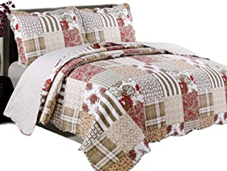 Quilt Set, Luxurious 3 Piece Bedspreads- Cotton Rich Soft, Hypoallergenic (Americana, King)