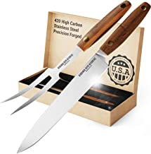 2 Piece Carving Knife Set Made in USA by Virginia Boys Kitchens - Professional Stainless Steel Full Tang Blades with Walnu...
