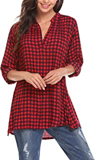 ELESOL Women`s Casual Lightweight Roll-Up Sleeve Notch Neck Buffalo Plaid Tunic Pullover Top