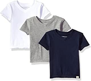 Baby Boys' T-Shirts, Set of 3 Organic Short Long Sleeve...