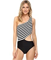 MICHAEL Michael Kors - Stable Stripe One Shoulder Cut Out One-Piece