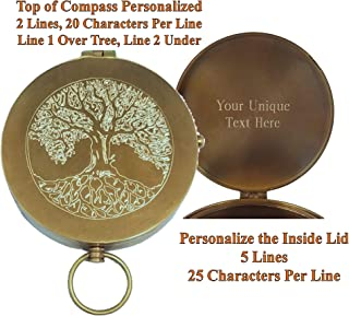 Stanley London Antique Large Brass Pocket Compass Engraved with Tree of Life