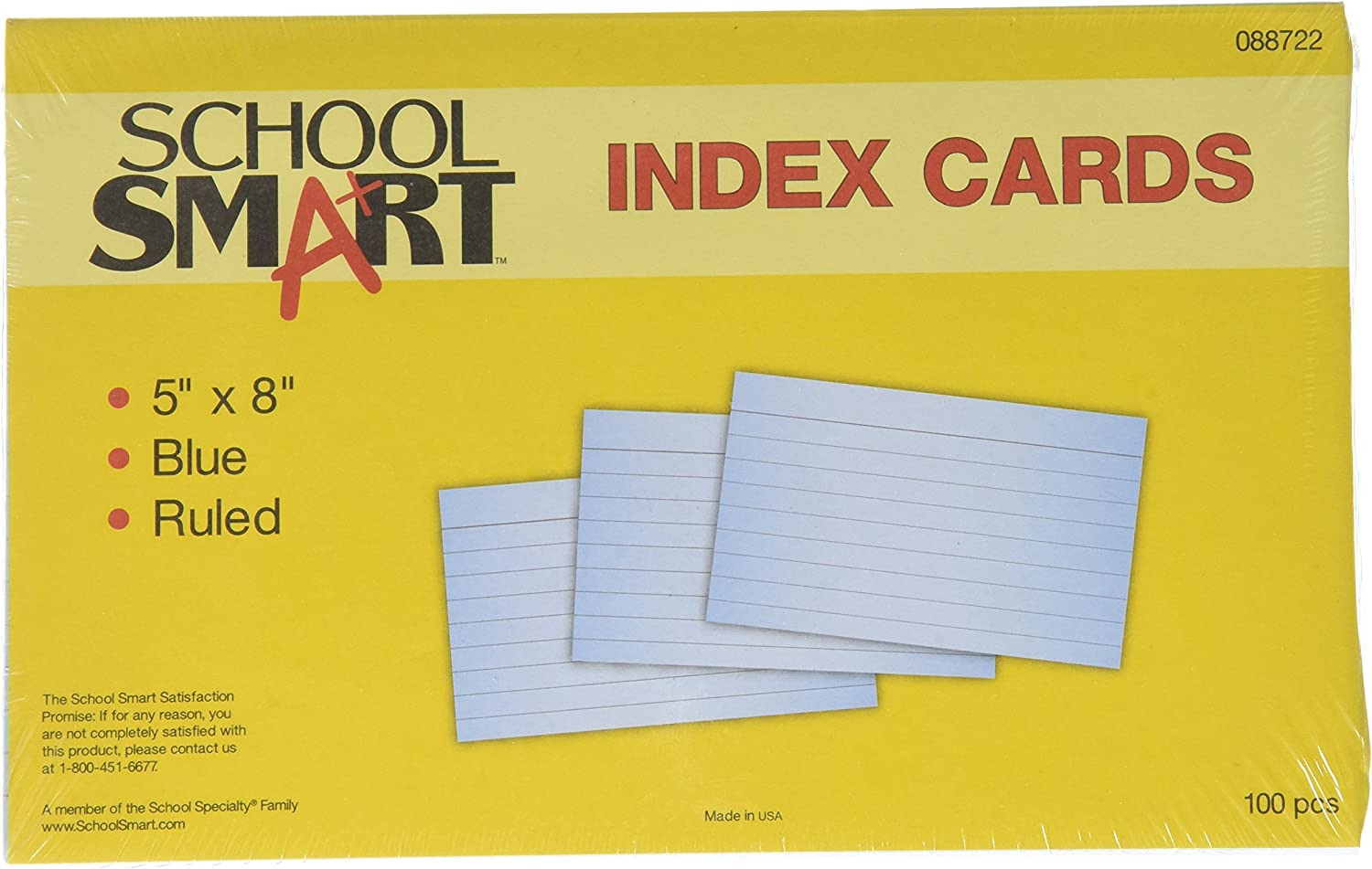 School Smart 90# Ruled Index Card 5 Inches Blue x Baltimore Mall of 1 8 Pack Ranking TOP4