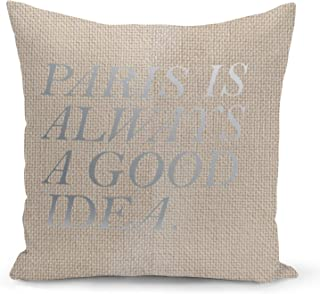 Paris Beige Linen Pillow with Metalic Silver Foil Print Paris is a good idea Couch Pillows