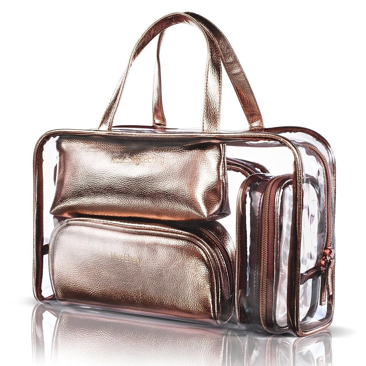 誓う有名人運命的なNiceEbag 透明バック、ビニールバッグ、化粧品バッグ、化粧ポーチ、メイクポーチ、クリアバッグ、プールバック、ハンドバッグ、トートバッグ、スタイリッシュ、オシャレ、かわいい、温泉、海、旅行 ビーチ ビジネス スパンコール 防水性 5個セットバック ローズゴールド