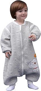 Mono Saco de dormir para Bebés Niños Niñas con Manga Larga Desmontable Mameluco Pijama Ropa de Dormir Bebés para Otoño Primavera - Azul Gris Rosa Amarillo
