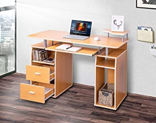 Merax Essential Home Office Computer Desk with Pull-Out Keyboard Tray and Drawers