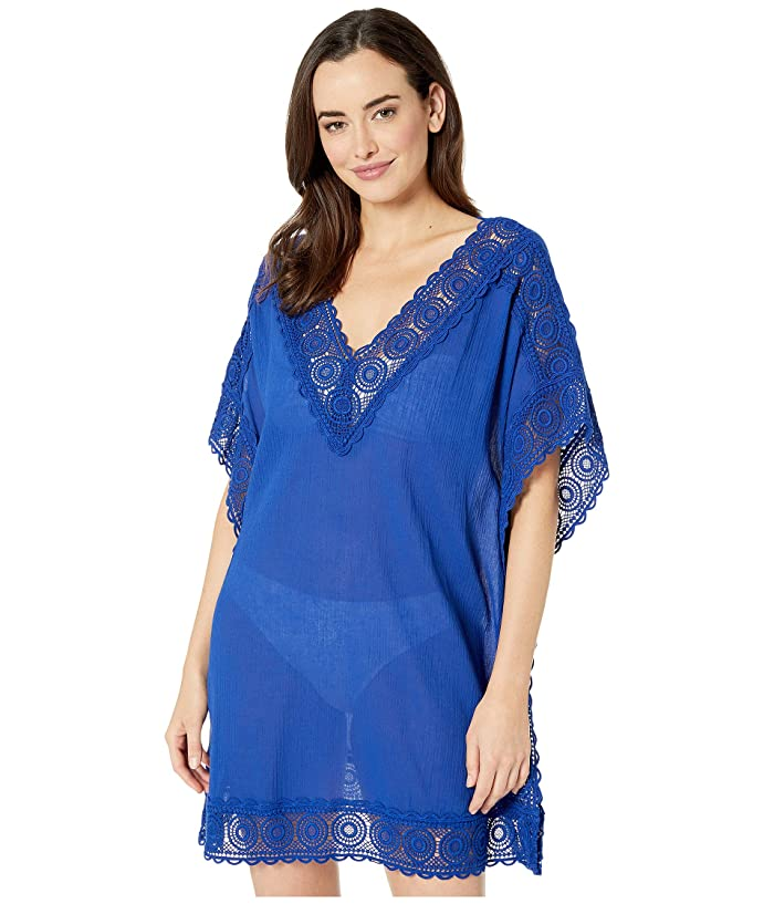 f4285e848ea57 La Blanca Island Fare Short Sleeve Tunic Cover-Up (Blueberry) Women's  Swimwear