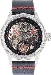 Otto Weitzmann - Reloj de cuerda manual con esqueleto de WEITZMANN, carcasa plateada, manecillas rojas, correa de piel auténtica en negro con costuras rojas