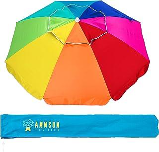 AMMSUN 2m Outdoor Patio Beach Umbrella Sun Shelter with Tilt Air Vent Carry Bag Multicolor Rainbow