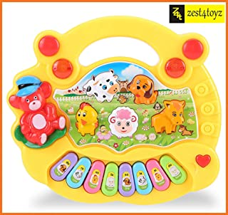 Zest 4 Toyz Musical Animal Farm Piano Toy with Flashing Light & Sound for Kid, Early Development Musical Toy- Assorted Color