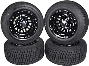 MASSFX Golf Cart Tire Gloss Black Wheel 205/50-10 Tire 10x7 4/4 Rim 4 PACK