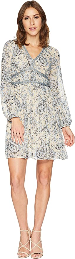 Paisley Print V-Neck Long Sleeve Dress