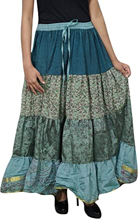 Womens Long Skirt Green Silk Sari Swing Flare Tiered Maxi Skirts L