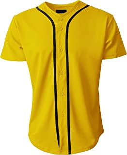 Mens Baseball Team Jersey Button Down T Shirts Plain Short Sleeve Top