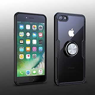 iPhone 7 / iPhone 8 Case | Transparent Crystal Clear Cover | Carbon Fiber Trim & Rubber Bumper | 360° Rotating Magnetic Fi...