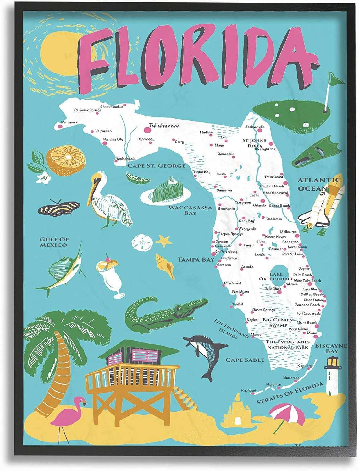 Stupell Industries Florida Teal Blue Pink Scenic and Same day shipping Attention brand Illustrated