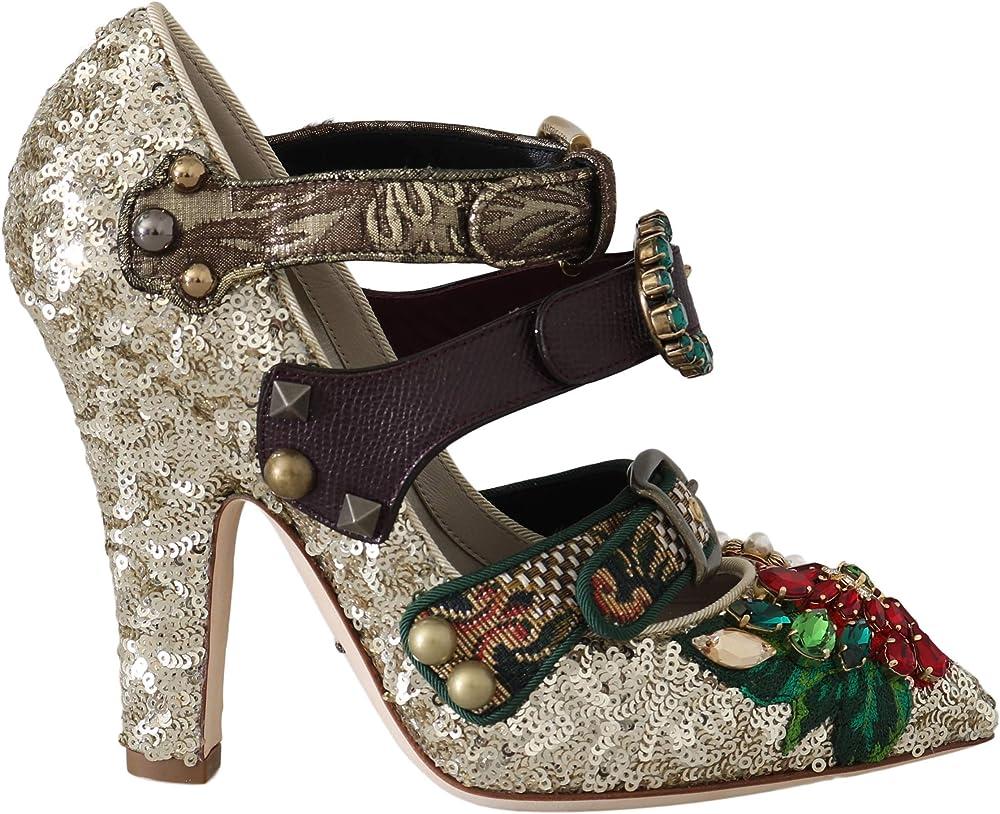Dolce & gabbana, scarpe da donna con tacco, in pelle con borchie, perle, cristalli, applique a fiori intreccia LA5661