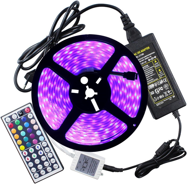 GHC LED Lights, UK Plug Impermeable IP67 5050 LED AC 100-240V, Tira de luz RGB 5 Metros 300LED 5050SMD 24kyes Adaptador Remoto 5A Adaptador de Corriente