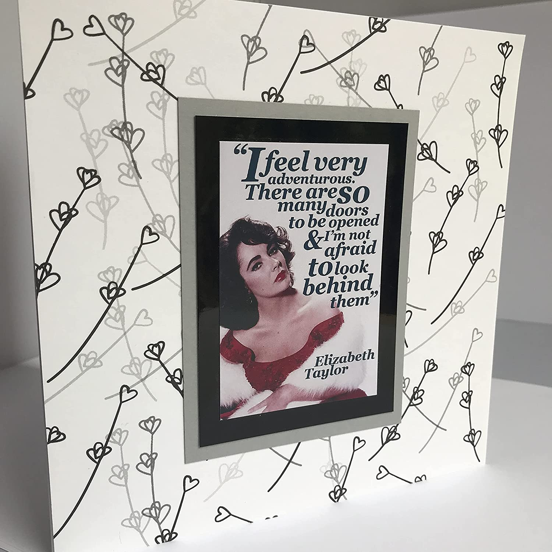 ELIZABETH TAYLOR handmade Happy Birthday N card white 2021 new Mail order cheap black grey