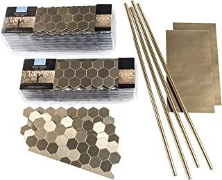 Aspect Peel and Stick Backsplash Honeycomb Champagne Matted Metal Tile for Kitchen and Bathrooms (Approx 15 Sq Ft Kit)