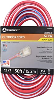 Southwire 02548-USA1 50-Foot Contractor Grade 12/3 with Lighted End American Made Extension Cord
