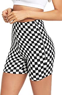 HUILAN Women's Checkered Bike Shorts Active Leggings