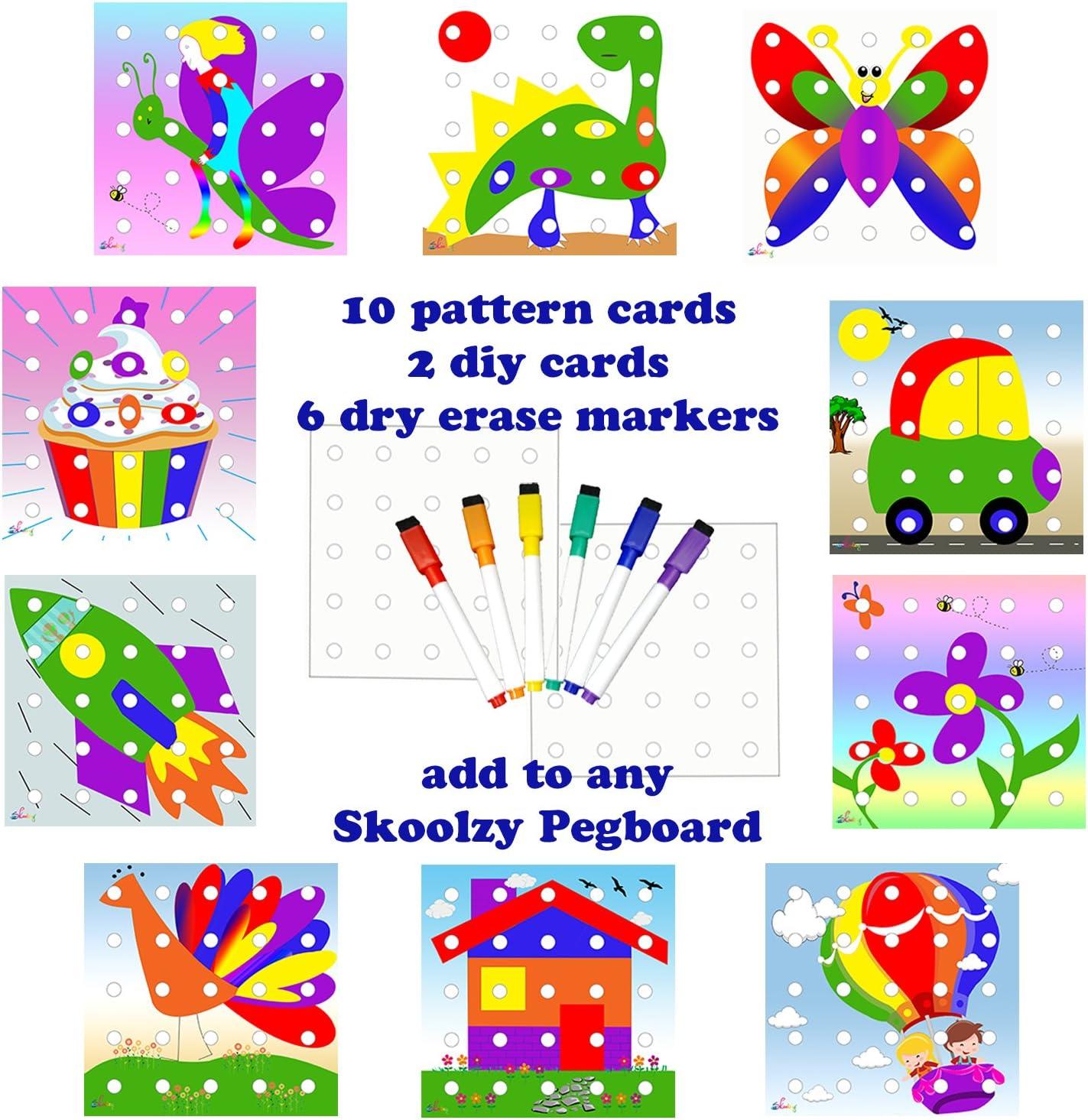 Skoolzy Color Sorting Peg Board Pattern P Cards Creative Max 65% OFF Superlatite for Kit
