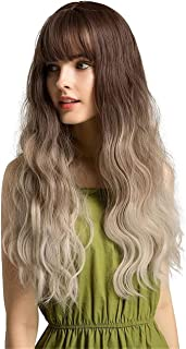 YYCHER Dark Brown Gradient Beige Natural Long Curly Long Hair Chemical Fiber Hair Hood Lady Girl Wig Hair Cover for Cospla...